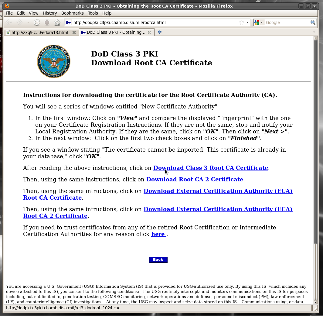 Dod cac setup for fedora 13 linux 32 bit x86 let firefox know what you want that certificate to be allowed to certify as in everything 1betcityfo Images