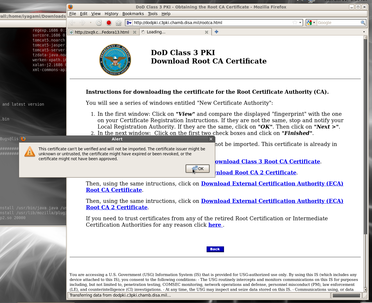 Dod cac setup for fedora 13 linux 32 bit x86 let it fuss about expired or untrusted certificates on the 1st and 3rd caswtf dod get with the program xflitez Gallery