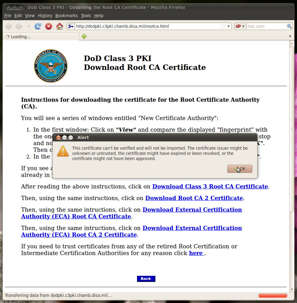 Dod cac setup for ubuntu 104 lts linux 32 bit x86 unverifiable certificates when you try to install the 1 and 3 ones the first one will probably throw two warnings and the third one will throw one xflitez Gallery